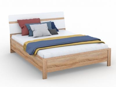 Кровать Дакота 160х200 без ламелей Сонома/белый глянец
