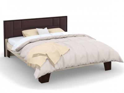 Кровать Эшли 160х200 с мягким изголовьем без ламелей Венге/сонома