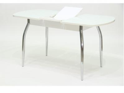 Стол Гала 2 лдсп белое + стекло белое