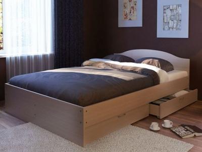Кровать Веста 1400 с ящиками дуб млечный