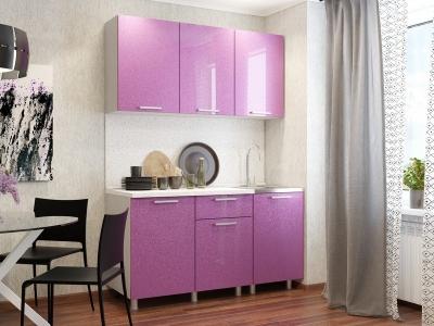 Кухонный гарнитур блестки Сирень 1500
