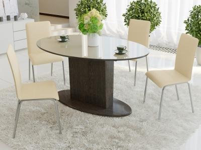 Стол обеденный раздвижной со стеклом Марсель СМ(Б)-102.01.12(2) Венге